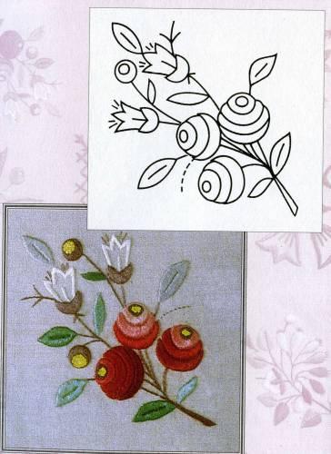 Цветочки-ягодки схема гладью 6