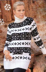 Длинный свитер с норвежским узором
