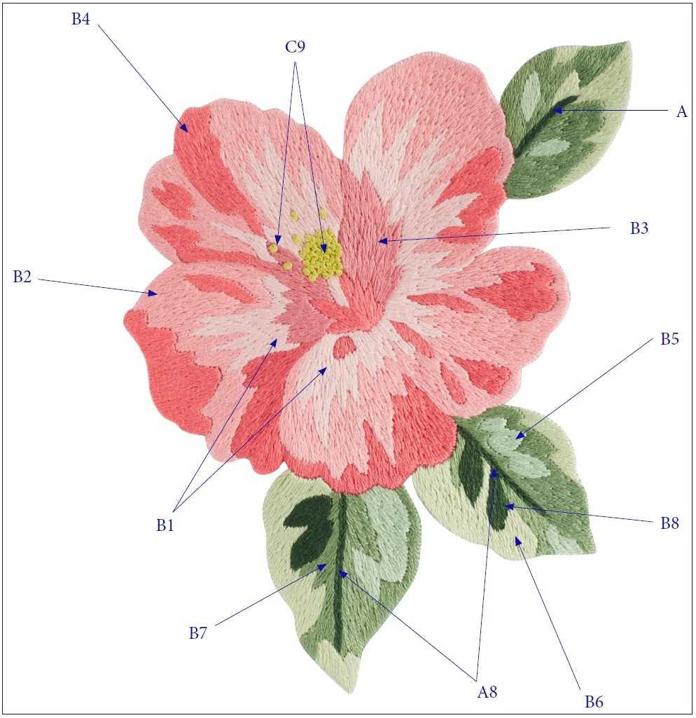 Гавайская роза вышивка гладью схема 2