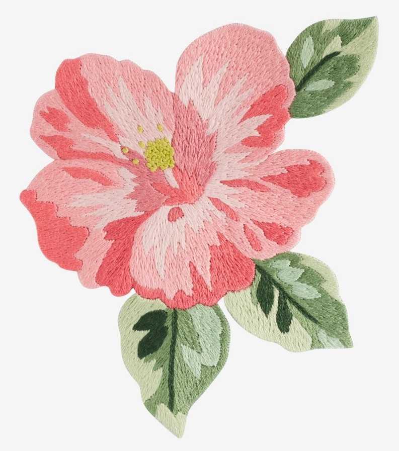 Гавайская роза вышивка гладью