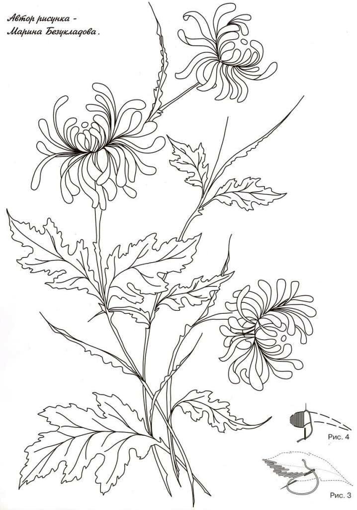 Хризантемы гладью схема