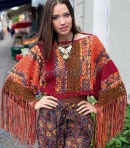 Короткий пуловер крючком в индейском стиле