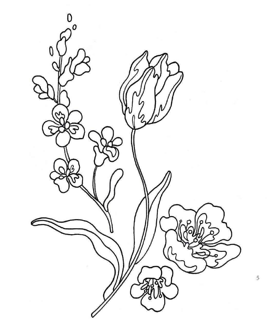 Красный тюльпан с садовыми цветами вышивка гладью рисунок