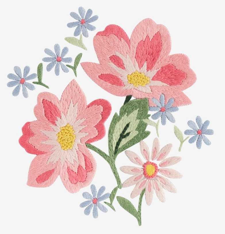 Летние цветы вышивка гладью