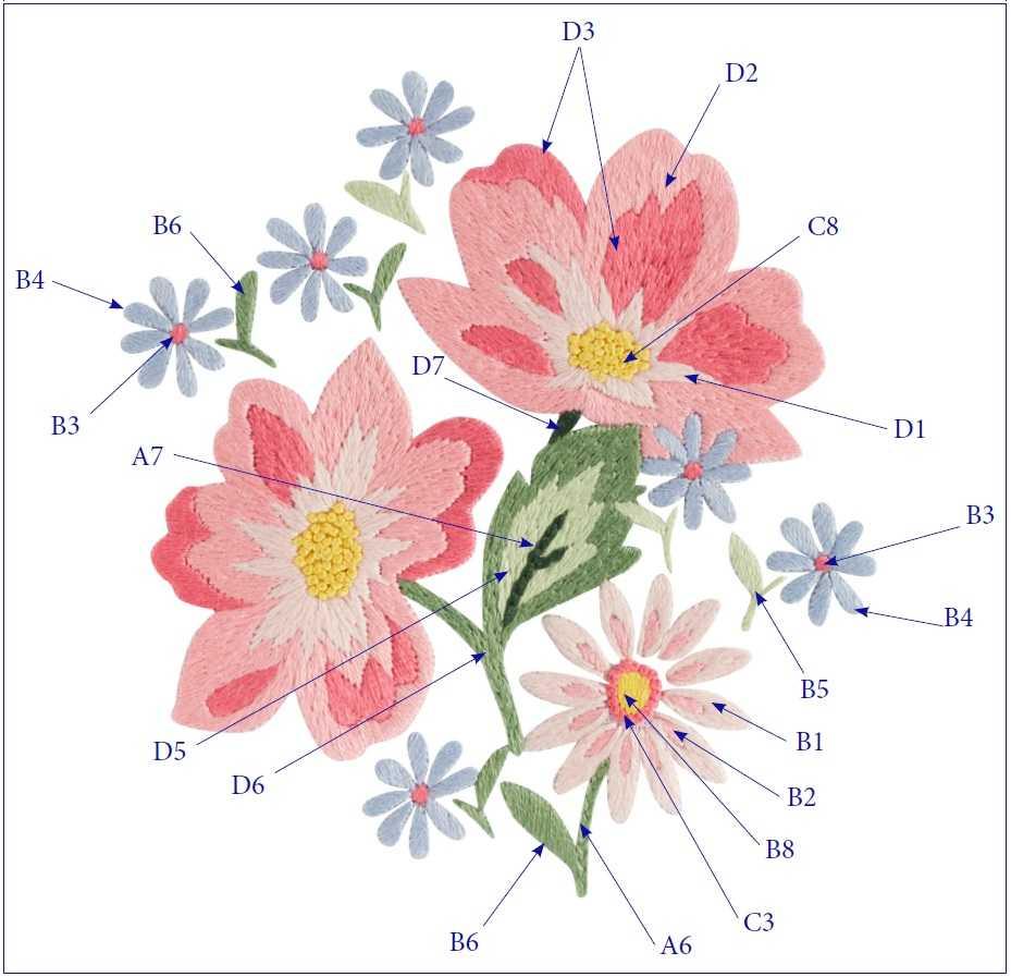 Летние цветы вышивка гладью схема 2