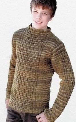 Меланжевый пуловер с оригинальным рельефным узором