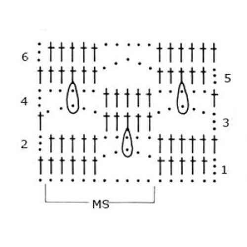 Многоцветный узор крючком №1800 схема