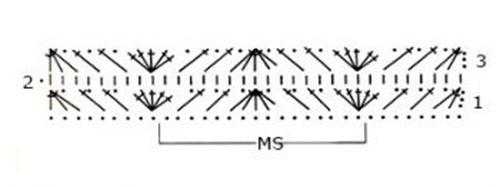 Многоцветный узор крючком №1802 схема