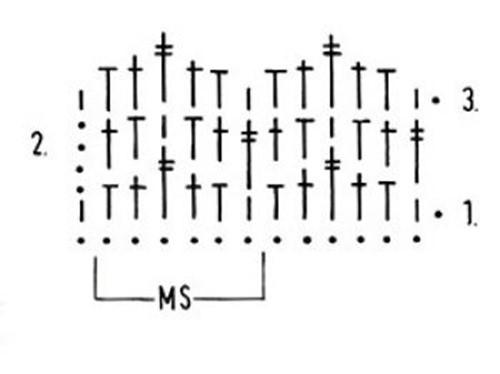 Многоцветный узор крючком №1804 схема
