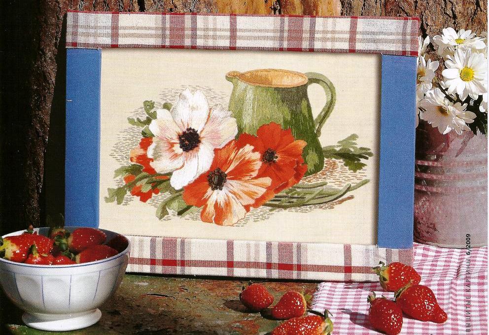 Натюрморт с цветами схема гладью