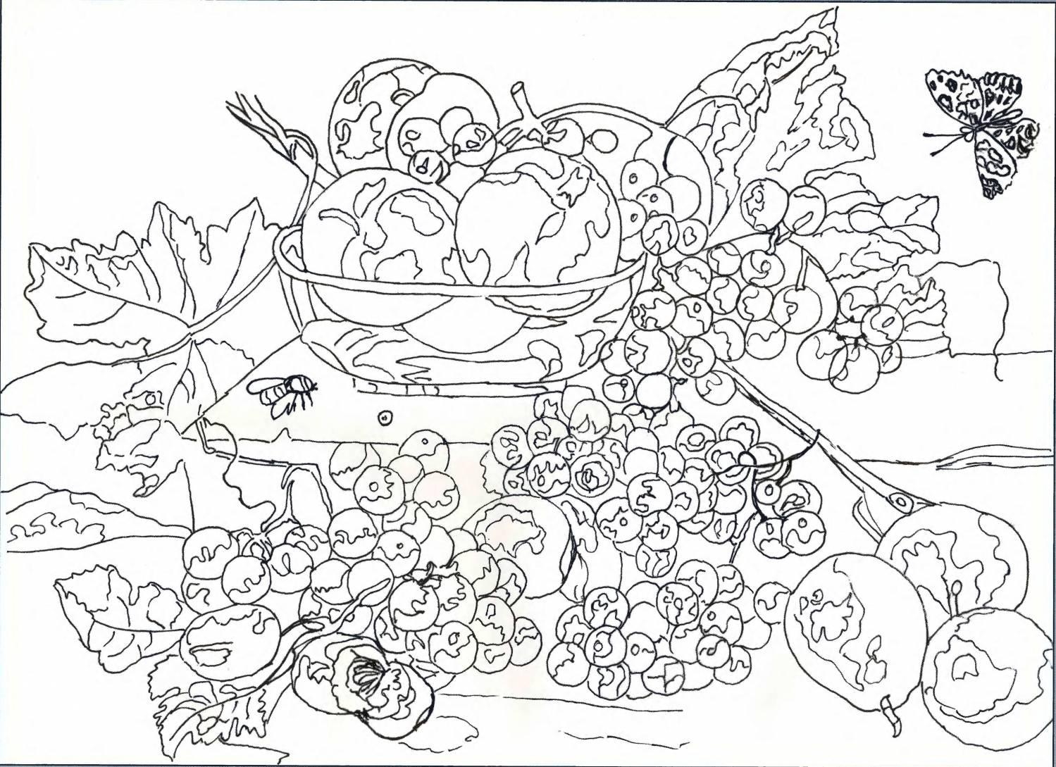 Натюрморт со спелыми фруктами вышивка гладью схема