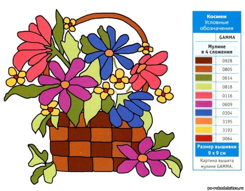 Нежные цветы в корзинке схема гладью 2