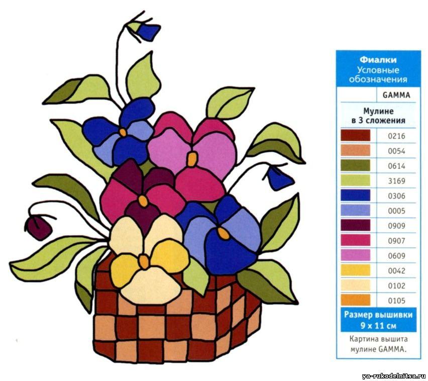 Нежные цветы в корзинке схема гладью