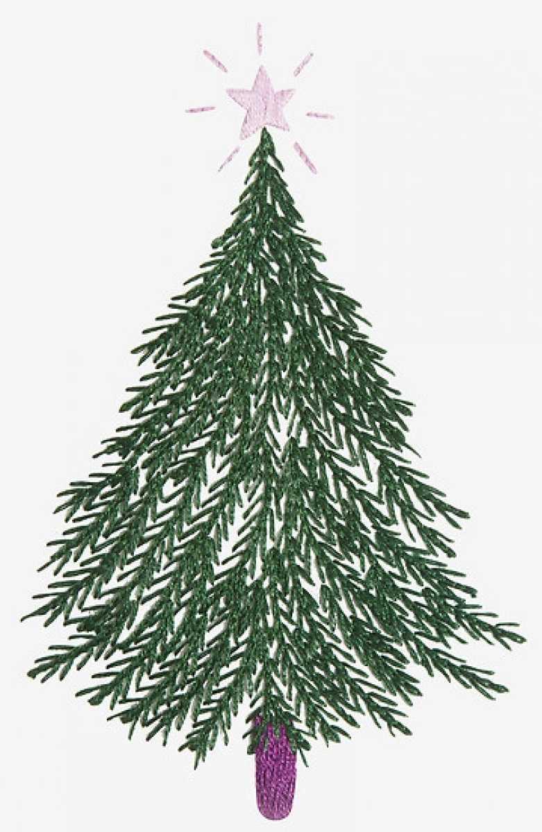 Новогодняя вышивка гладью елка