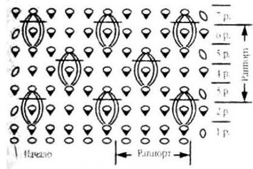 Объемный узор крючком №2004 схема