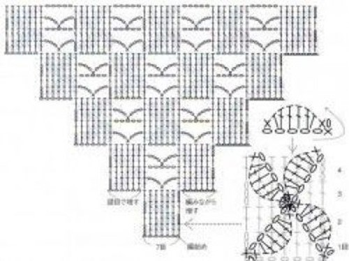 Объемный узор крючком №2006 схема