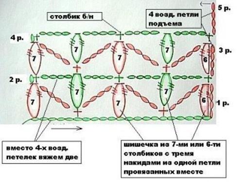 Объемный узор крючком №2008 схема