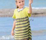 Платье крючком с завышенной талией для девочки