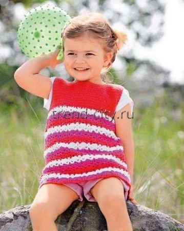 Платье крючком в полоску девочке
