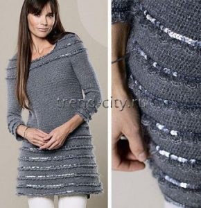 Платье-туника крючком с пайетками