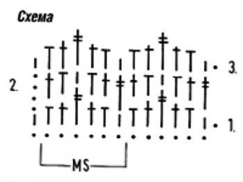 Плотный узор крючком №1601 (схема)