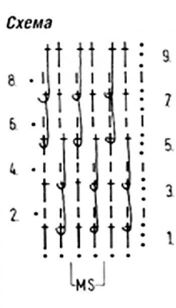 Плотный узор крючком №1602 (схема)