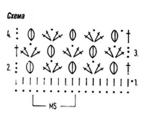Плотный узор крючком №1605 (схема)