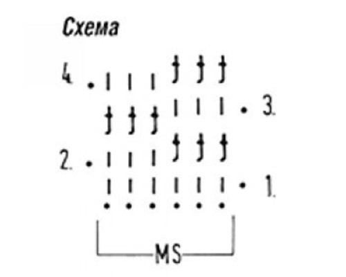 Плотный узор крючком №1607 (схема)
