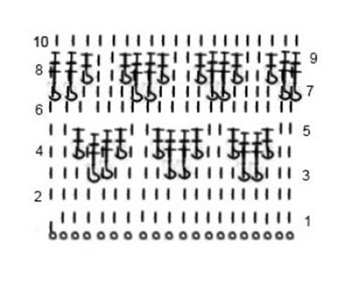 Плотный узор крючком №1609 (схема)