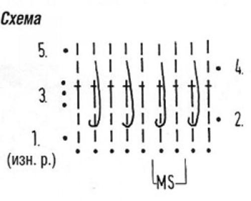 Плотный узор крючком №1619 схема