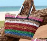 Пляжная сумка крючком в полоску