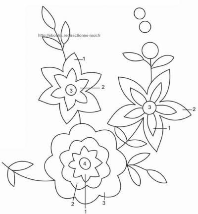 Подушка Весенние цветы схема гладью 2