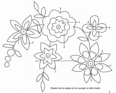 Подушка Весенние цветы схема гладью 3
