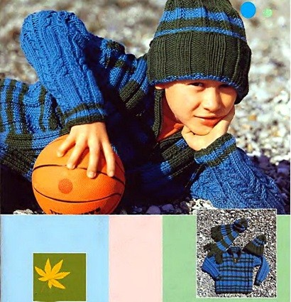 Полосатый пуловер с шапочкой и шарфиком