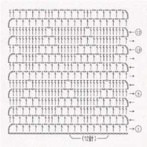 Простой узор крючком №1207 (схема)
