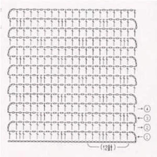 Простой узор крючком №1210 (схема)