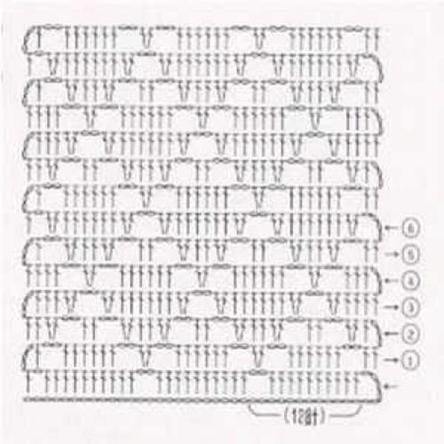 Простой узор крючком №1213 (схема)
