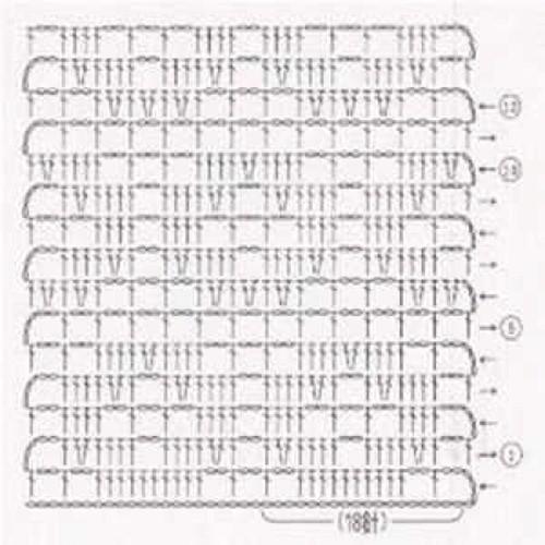 Простой узор крючком №1216 (схема)