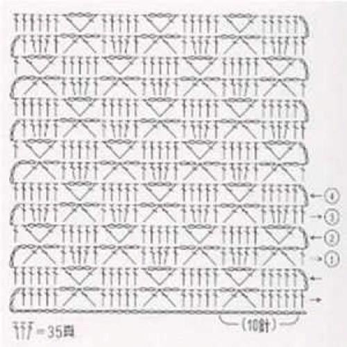 Простой узор крючком №1218 (схема)
