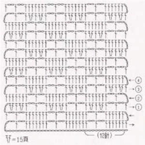 Простой узор крючком №1220 (схема)