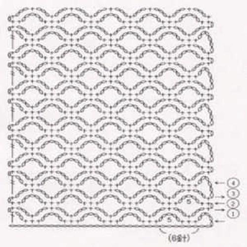 Простой узор крючком №1225 (схема)