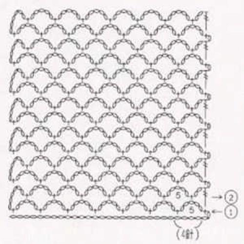 Простой узор крючком №1227 (схема)
