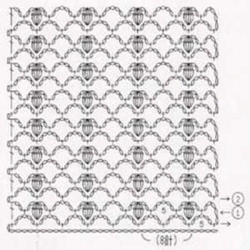 Простой узор крючком №1228 (схема)