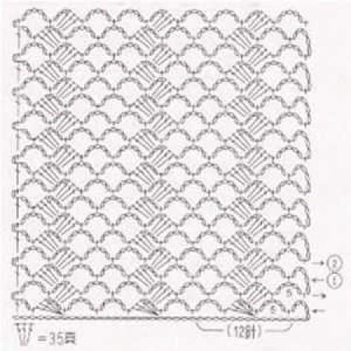 Простой узор крючком №1230 (схема)
