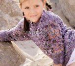 Пуловер крючком для девочки с ажурными дорожками