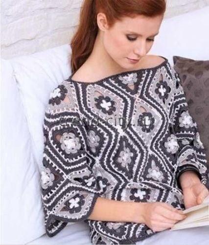 Пуловер крючком из цветочных ромбов