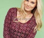 Пуловер крючком из мотивов «Цветочное кружево»