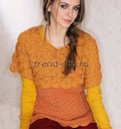 Пуловер крючком с цельновязанными рукавами