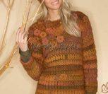 Пуловер крючком с цветами