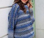 Пуловер крючком с узором из кубиков